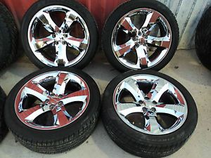 "Used Take Off Dodge Challenger 20"" Chrome Wheels with Firestone Tires KB108G"