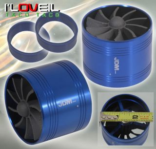"2 5"" Cold Air Short RAM Intake supercharger Single Fan Gas Fuel Saver Blue Ford"