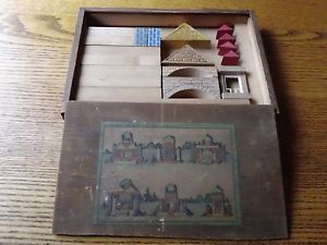 Vintage German Wooden Building Block Set 1950's Dovetail Box Colored Blocks