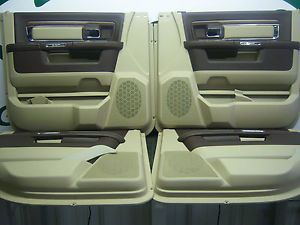 Dodge RAM 1500 Longhorn Laramie Crew Front Rear Interior Door Trim Panels 2013
