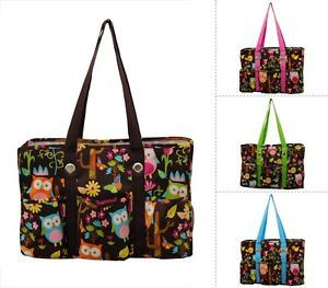 Cute Owl Print Travel Caddy Organizer Tote Bag