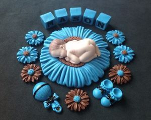 Fondant Edible Baby Boy Blue Brown Cake Topper with Letter Blocks Baby Shower