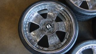 "RARE 22"" asanti Tattoo Style Chrome Wheels Rims Bentley Continental Pirelli"