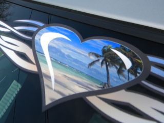 Tribal Heart Beach Scene Windshield Decal PT Cruiser HHR VW Chevy Ford Dodge