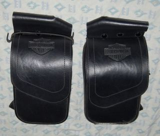 Harley Davidson Motorcycle 2 Black Leather Saddle Rail Bags