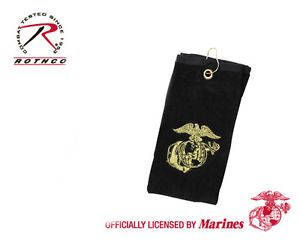 Black Military US Marines USMC Embroidered Golf Club Bag Caddy Towel with Hook