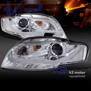 BMW Style LED DRL Strip Lamps 06 08 Audi A4 S4 B7 Clear Projector Headlights