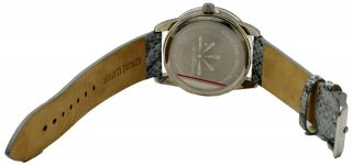 Isaac Mizrahi Live Women's Round Lucite Gray Leather Analog Casual Watch
