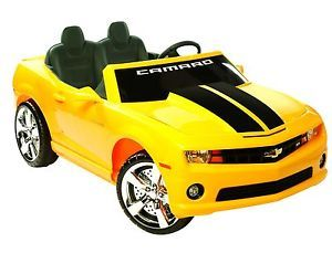 Kids Battery Powered Ride on Toy 2 Seats Seater Camaro Sports Car Yellow 12V