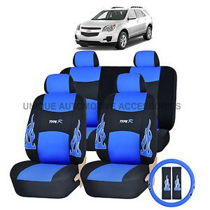 Chevy Chevrolet Camaro Blue Flames Semi Custom Complete Seat Covers 13pc Set