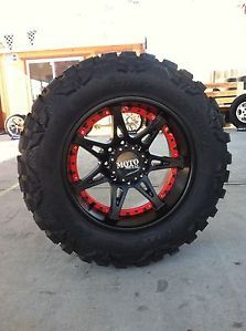 "20"" Black Wheels Tires 8x165 Hummer Chevy Dodge 35 12 50 20 Nitto Mud Grappler"