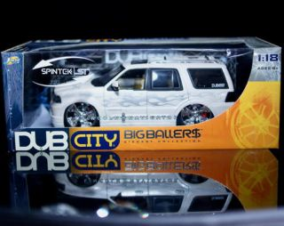 Chevrolet Suburban Dub City Diecast 1 18 Scale White w Flames