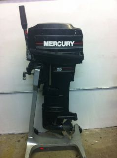 1993 Mercury 25 HP 2 Stroke Outboard Motor Tiller Boat Engine 20 15 Water Ready