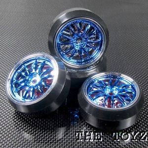 Associated HPI Traxxas 1 10 1 16 Blue Chrome Drift Wheels w Diamond Cut Tires