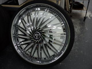 "Dub Rebellion Chrome Spin 32"" Wheels and Tires 5 Lug Rwd"