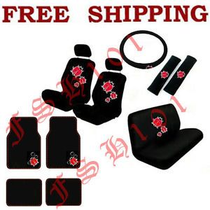 New Set Red Ladybugs Bubbles Car Seat Covers Steering Wheel Cover Floor Mats