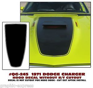 QG 245 1971 Dodge Charger Hood Blackout Stripe Decal Kit with No R T Logo