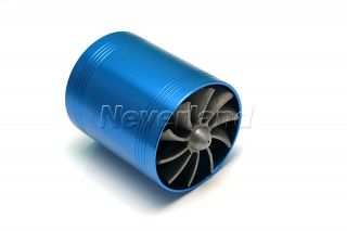 Dual Air Intake Gas Fuel Saver Turbine supercharger Engine Enhancer Fan Blue New