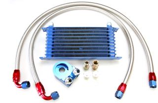 Japan Engine Oil Cooler Kit 10 Rows Stainless Steel Hoses Aluminum Fittings