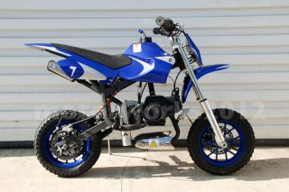 Details about 47cc 49cc Mini Dirt Bike Blue 2 stroke pocket pit bike