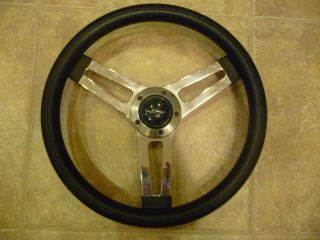 "14"" Grant Steering Wheel Aftermarket Used Chrome and Black Signature in Cap"