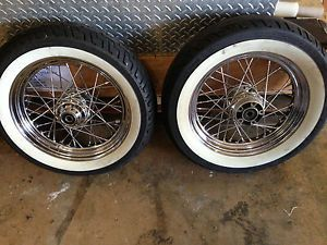"Harley Heritage Softail Chrome Spoke 16"" Front Rear Wheels w Whitewalls"