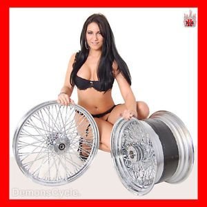 "21"" 18x10 5"" Chrome Rims Wheels 80 Spokes 300 Wide Tire Set Fits Custom Harley"