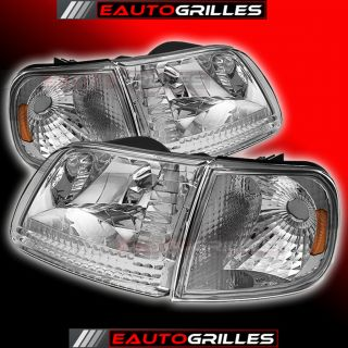 97 03 Ford F150 97 99 F250 Clear Lens Chrome Crystal Head Lights Lamp Headlight