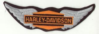 "True Genuine AMF Vintage Harley Davidson 7"" Orange Biker Wings Jacket Patch RARE"