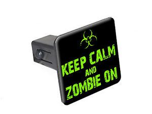 "Keep Calm and Zombie on Biohazard 1 25"" Tow Trailer Hitch Cover Plug Insert"