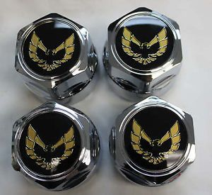 "Firebird Trans Am Gold Bird Chrome 16"" Wheel Center Caps Set of 4 New"