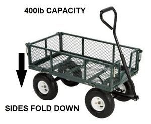 400 lb Capacity Steel Utility Cart Green Foldable Sides 10 inch Tires Flat Bed