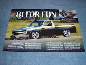 "1981 Chevy C10 Short Bed Fleetside Pickup Truck Article ""81 for Fun"""