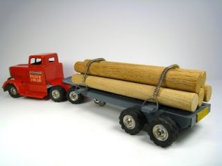 "Linemar Tin Friction 1959 Diamond T Logging Truck 13 75"" Excellent Cond with Box"