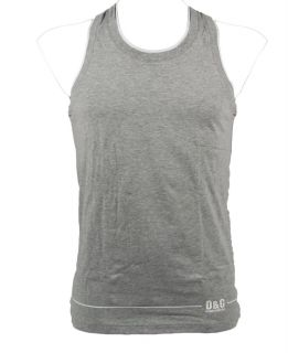 "Dolce Gabbana ""Double Band"" Mens Vest Tank Top Muscle Shirt Gray White"