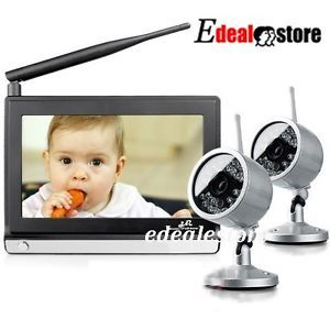 "2 4GHz Wireless 7"" TFT LCD Video Baby Monitor with Night Vision Remote 2 Camera"