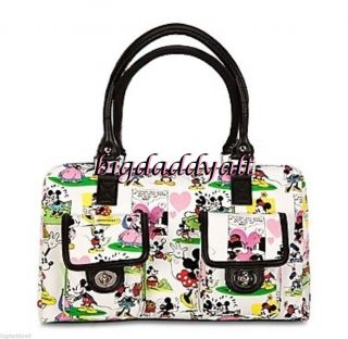 New Disney Parks Mickey Mouse Comics Cartoon White Speedy Handbag Purse Tote Bag