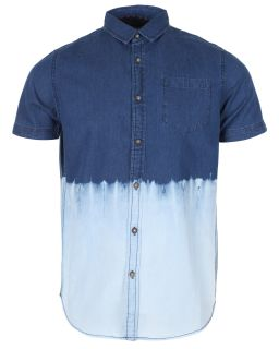 Brave Soul Mens Short Sleeve Casual DIP Dye Button Up Denim Cotton Shirt Blue