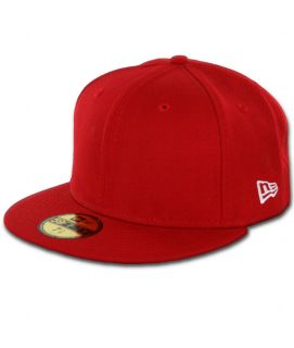 New Era Plain Blank Red Original 59Fifty Fitted Baseball Hats Caps Customizable