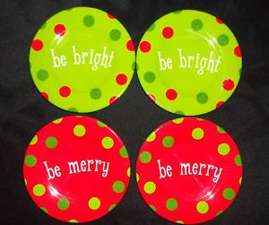 Signature Housewares Red Green Polka Dot Melamine Christmas Plates 5 5""
