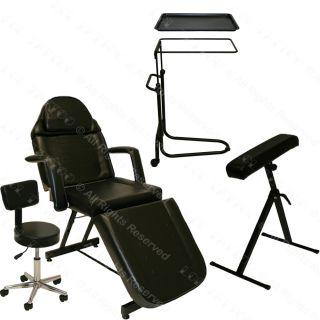 Tattoo Package Massage Table Bed Chair Black Tray Arm Bar Rest Salon Equipment