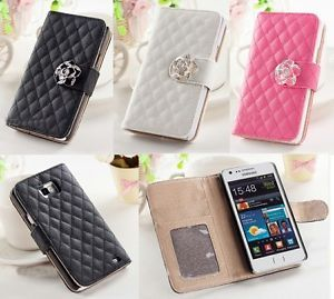 Luxury Diamond Camellia Wallet Card Flip Case Cover for Samsung Galaxy S2 I9100