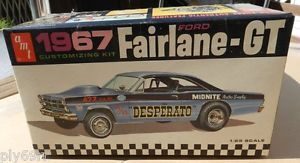 1967 Ford Fairlane GT Original Drag Stock 427 AMT Model Kit Box Junkyard Parts