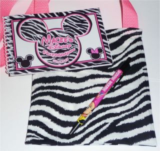Personalized Disney Pink Zebra Mickey Minnie Mouse Autograph Book Bag Pen New
