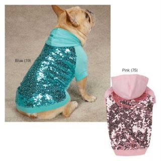 Pink Blue East Side Collection Sequin Dog Pullovers Dog Pet Puppy Hoodie Shirt