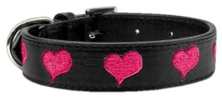 Dog Pet Puppy Embroidered Pink Heart Valentines Day Collar Black Leather Collar