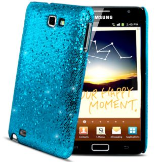 Light Blue Sparkle Glitter Hard Case Cover Samsung Galaxy Note i9220 Film