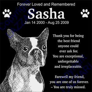 Personalized Boston Terrier Pet Dog Memorial 12x12 Engraved Granite Grave Marker