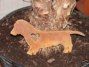 Dachshund Long Hair Pet Dog Memorial Garden Yard Stake