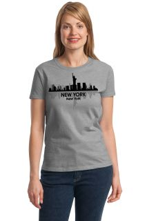 New York City Skyline Adult Ladies' T Shirt NYC Big Apple Manhattan Sky Tee
